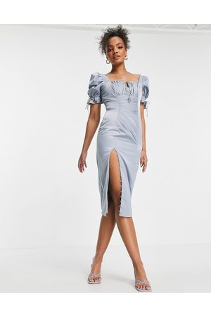 ASOS Ruched midi dress with puffed sleeve and button detail-Blue