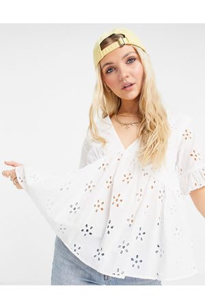 ASOS Daisy broderie smock top with fluted sleeve in ivory-White