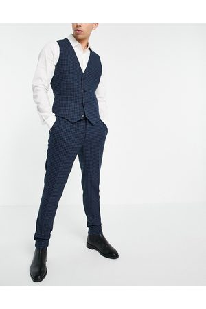 ASOS Super skinny wool mix suit pants = with multi grid check in navy