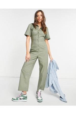 Monki Women Jumpsuits - Samantha cotton button-up puff-sleeved jumpsuit in green