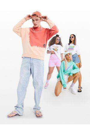ASOS Sweatshirts - Oversized sweatshirt in placement wash & doodle back print-Orange