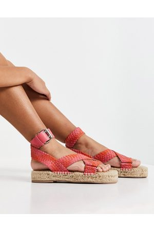 ASOS Jealous leather espadrilles in pink and red weave-Multi