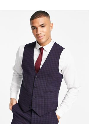 ASOS Wedding super skinny wool-mix suit waistcoat with navy grid check