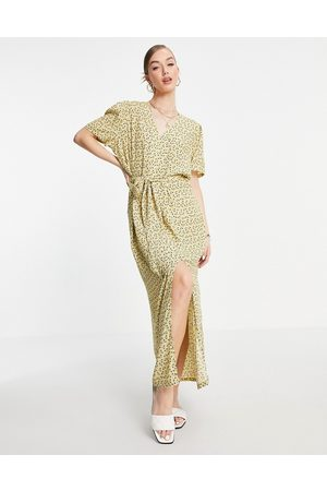 SELECTED Women Maxi Dresses - Button-down tie waist dress in yellow