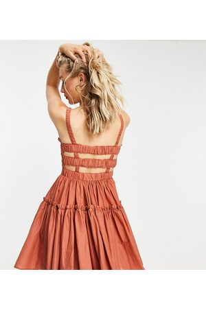 ASOS Women Summer Dresses - ASOS DESIGN Tall cami mini sundress with raw edges in rust-Red