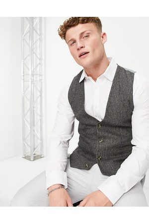 ASOS Skinny suit waistcoat in grey nep texture