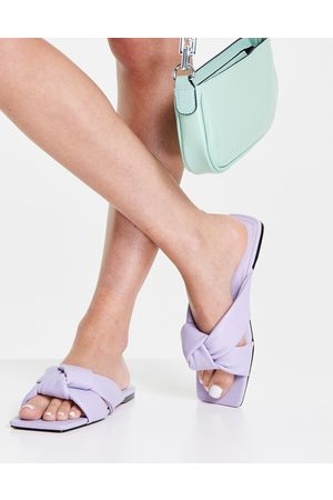 ASOS Fay padded knotted flat mules in lilac-Purple