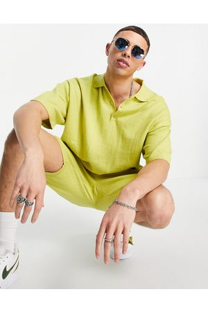 ASOS Knitted linen mix polo T-shirt co-ord in yellow yarn