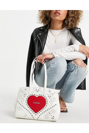 Love Moschino Tote Bags - Large heart logo tote bag in white