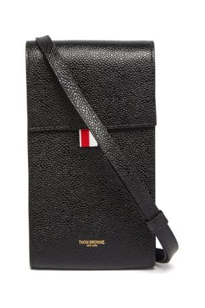 Thom Browne Men Phone Cases - Grained-leather Cross-body Phone Bag - Mens