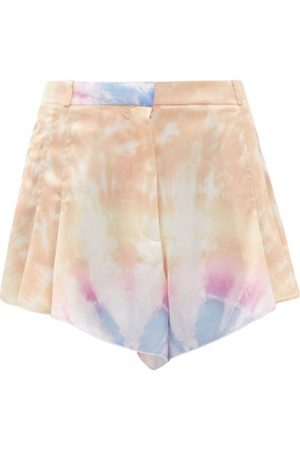 Paco rabanne Pleated Tie Dye-print Satin Shorts - Womens - Multi