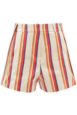 Paco rabanne Women Shorts - High-rise Jacquard-stripe Cotton-twill Shorts - Womens - Multi