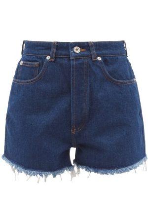 Paco rabanne High-rise Denim Shorts - Womens - Dark Denim