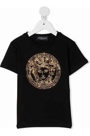 VERSACE Rhinestone-Medusa cotton T-shirt