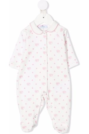 MONNALISA Baby Rompers - Winking eye-motif cotton romper