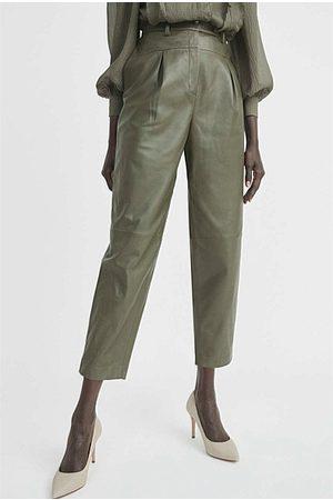 WITCHERY Women Leather Pants - Peg Leg Leather Pant