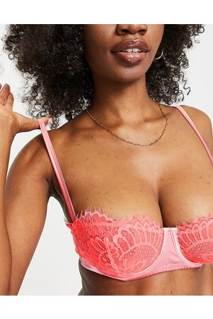 ASOS Fuller Bust Milly contrast satin & lace underwire bra in pink-Multi