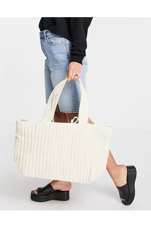 ASOS Quilted tote bag in natural washed cotton-White