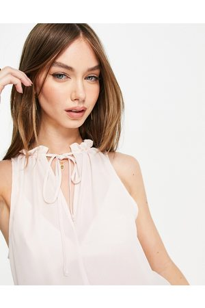 ASOS Frill neck blouse with keyhole detail in blush-Pink