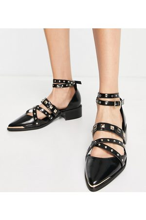 ASOS Wide Fit Modish hardware point flat shoes in black
