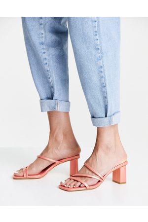 Forever New Millie multi-strap block mule in peachy pink