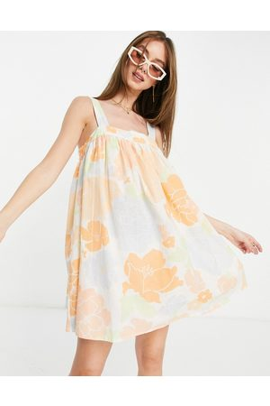 ASOS Women Summer Dresses - Trapeze mini sundress in abstract floral print-Multi