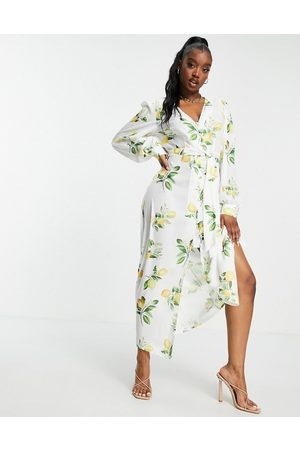 In The Style X Stacey Solomon tie detail midi dress in summer lemon print-Multi