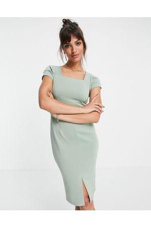 Closet Square neck cap sleeve pencil dress in sage-Green