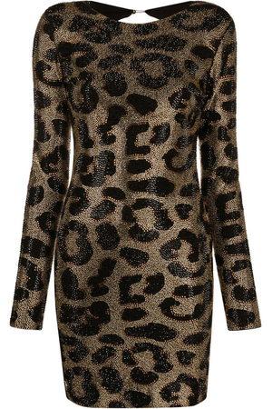 Philipp Plein Women Printed Dresses - Leopard-print studded dress