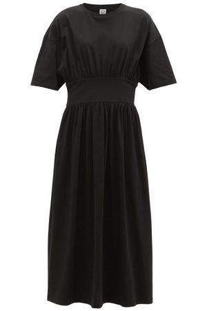 Totême Gathered-waist Organic-cotton Jersey Midi Dress - Womens