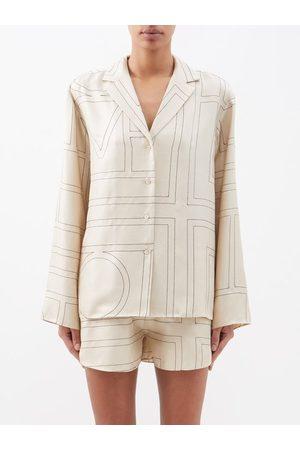 Totême Monogram-embroidered Silk-twill Pyjama Top - Womens - Cream