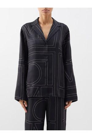 Totême Monogram-embroidered Silk-twill Pyjama Top - Womens