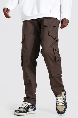 Boohoo Mens Chocolate Fixed Waistband Relaxed Fit Twill Cargo trousers