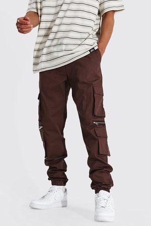 Boohoo Mens Chocolate Tall Man Twill Multi Pocket Zip Cargo Jogger