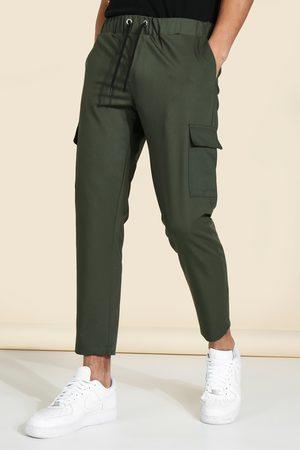 Boohoo Mens Khaki Skinny Plain Cargo Smart Crop Jogger Trouser