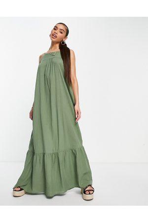 ASOS Tiered maxi dress in Khaki-Green