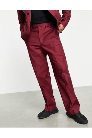 ASOS Smart wide leg pants co-ord in burgundy-Red