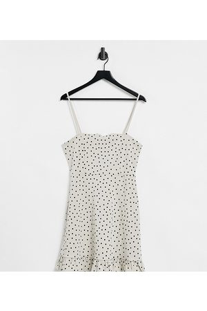 ASOS Tall strappy sundress with pep hem in stone and black polka dot-White