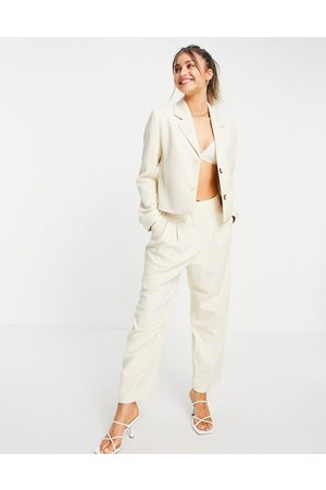 SELECTED Outfit Sets - Femme wide-legged pants co-ord in cream-White