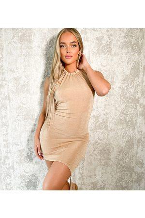 AsYou Halter dress with asymmetric knot hem in neutral