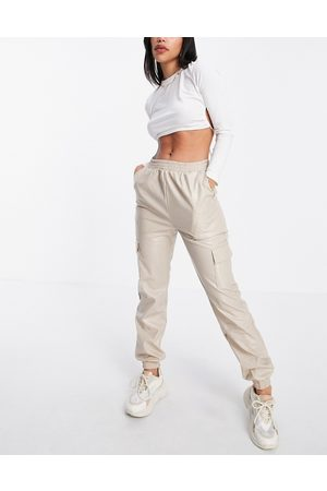 NaaNaa Faux leather cargo pants in stone-Neutral
