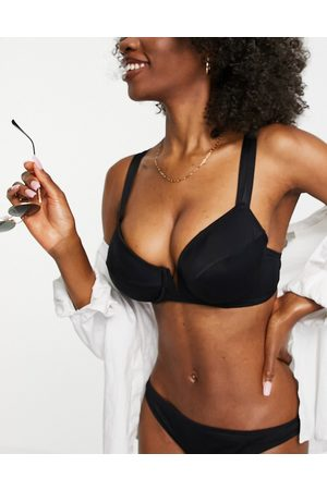 Figleaves Fuller Bust Rene plunge v wire bikini top in black