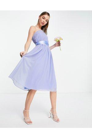 Little Mistress Bridesmaids one-shoulder midi dress in blue