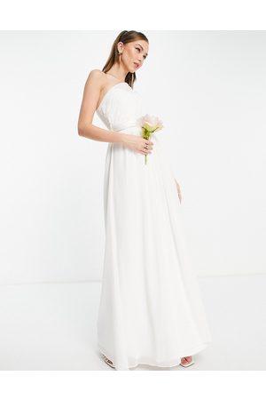 Little Mistress Women Party Dresses - Bridal one-shoulder maxi dress in white