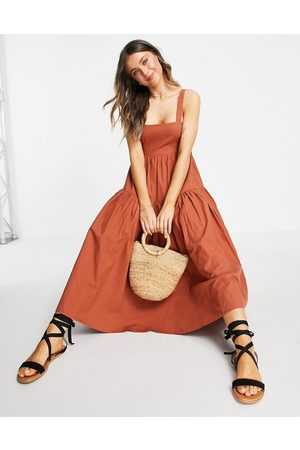 ASOS Dungaree midi sundress with open back in rust-Red