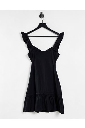 ASOS Cut-out sundress with ruffle shoulder in black