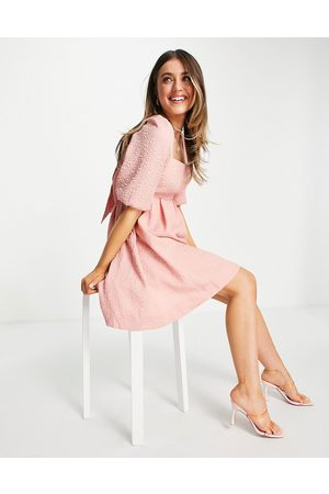 Forever New Baby doll bow back mini dress with puffed sleeve in dusty blush-Pink