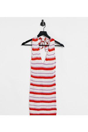 ASOS Women Knitted Dresses - ASOS DESIGN Petite knitted mini dress with halterneck in multi stripe