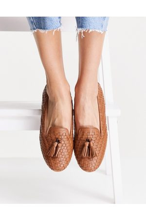 Dune Gilsa woven tassel loafers in tan-Brown