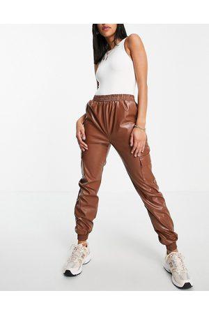 NaaNaa PU cargo pants in brown